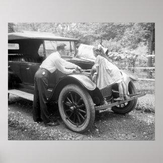 Helping Dad, 1923. Vintage Photo Poster