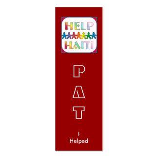 Helping Hands For Haiti Book Mark Business Cards