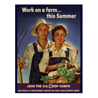 Helping on the Farm Conservation During WWII Postcard