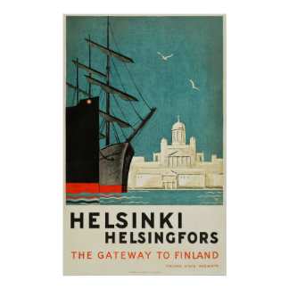 Helsinki, Finland Travel Poster Gateway to Finland