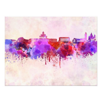 Helsinki skyline in watercolor background photo print