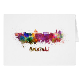 Helsinki skyline in watercolor card