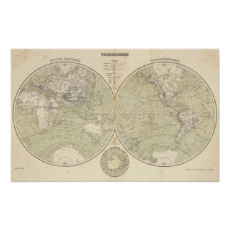 Hemisphere Atlas Map Poster