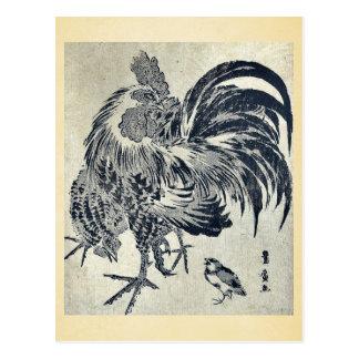 Hen and chick by Utagawa, Toyohiro Ukiyoe Postcard
