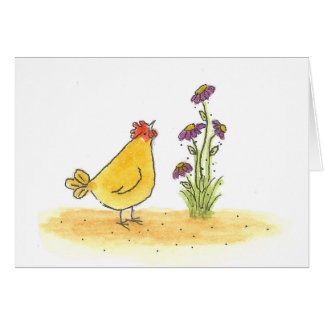 Hen And Tall Flower Card