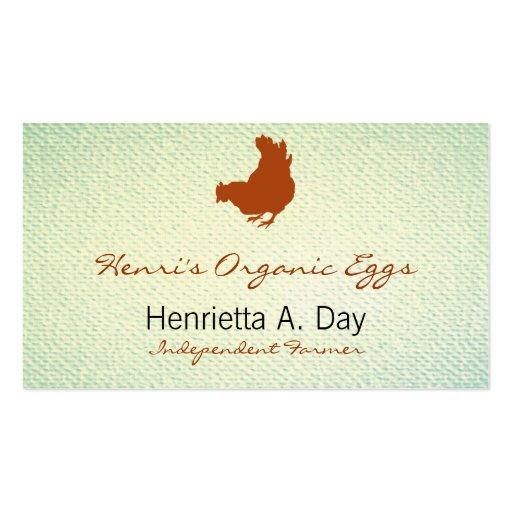 Hen [chicken, farmer, organic eggs] Textured Look Business Card