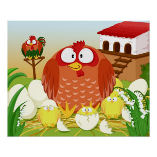 Hen chicken rooster in May Poster