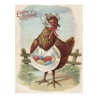 Hen Easter Colored Decorated Painted Egg Farm Postcard