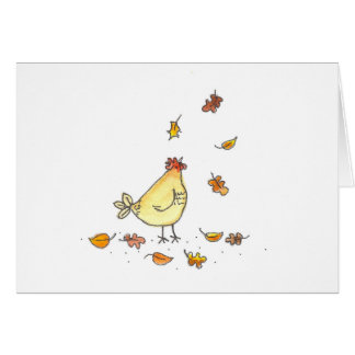 Hen In The Leaves Card