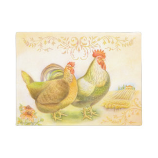 Hen & rooster doormat set in Italian countryside.