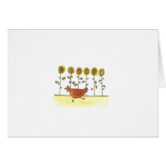 Hen Running In Sunflowers Card