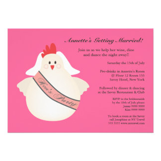 Hen s Party Funny Chicken Illustrated Invite
