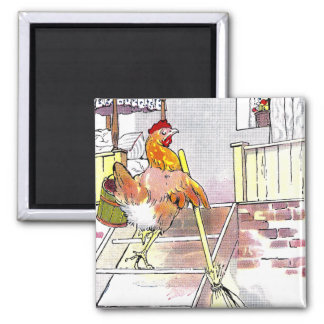 Hen with Broom Mounting Stairs to Bedroom Magnet