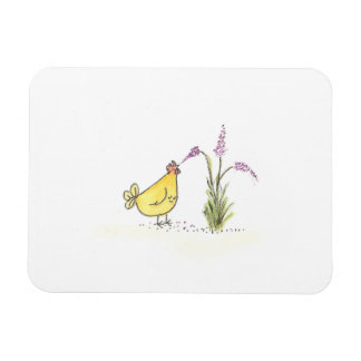 HEN WITH PURPLE FLOWER RECTANGULAR PHOTO MAGNET