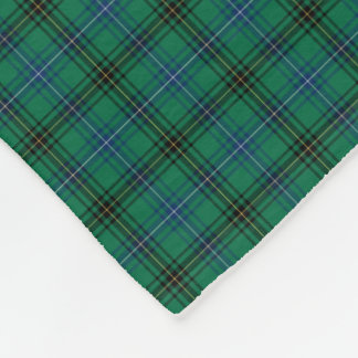 Henderson Clan Bright Green and Blue Tartan Fleece Blanket