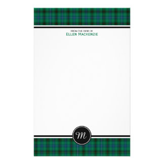 Henderson Clan Tartan Green and Blue Monogram Stationery