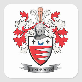 Henderson Family Crest Coat of Arms Square Sticker