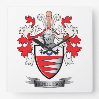Henderson Family Crest Coat of Arms Square Wall Clock