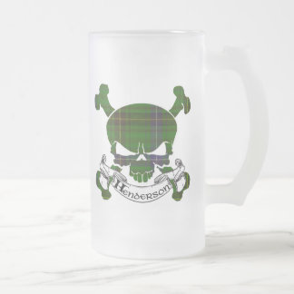 Henderson Tartan Skull Frosted Glass Beer Mug