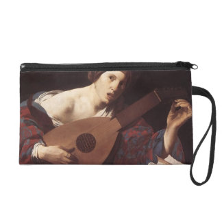 Hendrick Terbrugghen- Woman Playing the Lute Wristlet Purses