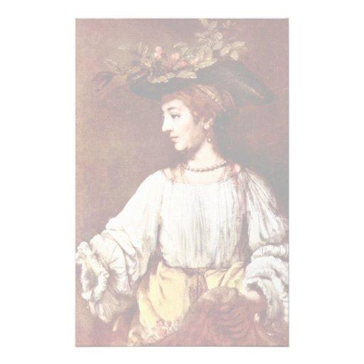 Hendrickje As Flora By Rembrandt Harmenszoon Van Stationery Paper