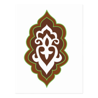 Henna Arabesque Green Postcard