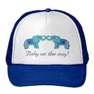 Henna Elephant (Blue/Light Blue) (Baby Shower) Cap