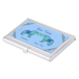 Henna Elephant (Blue/Light Blue) Business Card Holder