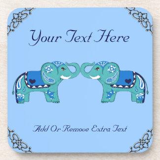 Henna Elephant (Blue/Light Blue) Coaster