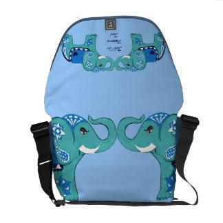 Henna Elephant (Blue/Light Blue) Courier Bags