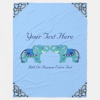 Henna Elephant (Blue/Light Blue) Fleece Blanket
