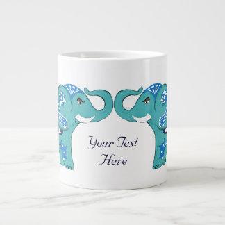 Henna Elephant (Blue/Light Blue) Large Coffee Mug