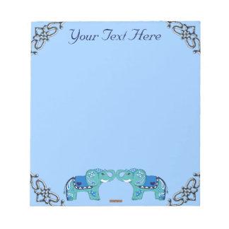 Henna Elephant (Blue/Light Blue) Notepad