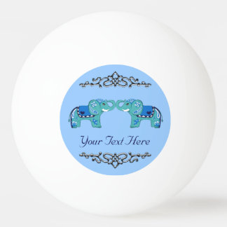 Henna Elephant (Blue/Light Blue) Ping Pong Ball