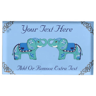 Henna Elephant (Blue/Light Blue) Place Card Holder