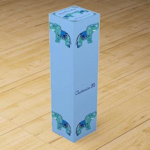 Henna Elephant (Blue/Light Blue) Wine Gift Box