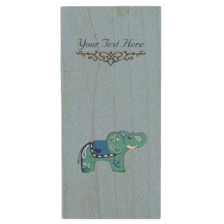 Henna Elephant (Blue/Light Blue) Wood USB Flash Drive
