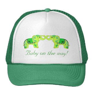 Henna Elephant (Green/Lime Green) (Baby Shower) Cap
