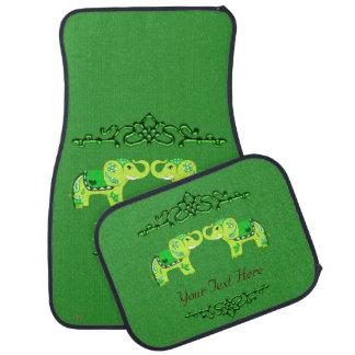 Henna Elephant (Green/Lime Green) Car Mat
