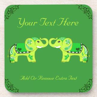 Henna Elephant (Green/Lime Green) Coaster