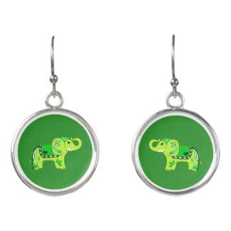 Henna Elephant (Green/Lime Green) Earrings