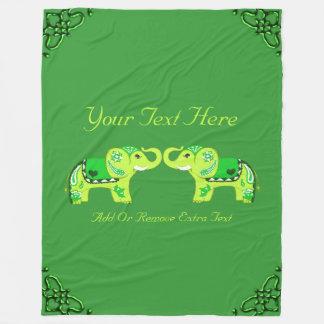 Henna Elephant (Green/Lime Green) Fleece Blanket