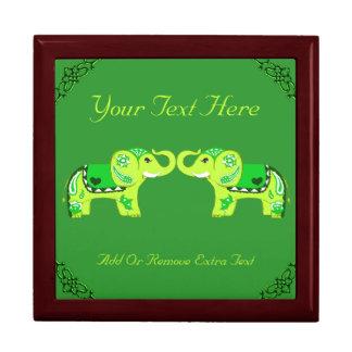 Henna Elephant (Green/Lime Green) Gift Box