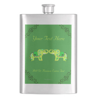 Henna Elephant (Green/Lime Green) Hip Flask