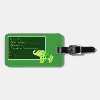 Henna Elephant (Green/Lime Green) Luggage Tag