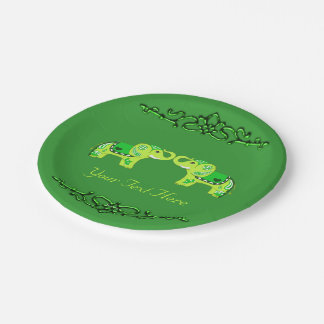 Henna Elephant (Green/Lime Green) Paper Plate