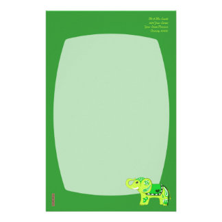 Henna Elephant (Green/Lime Green) Stationery