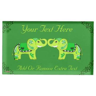 Henna Elephant (Green/Lime Green) Table Card Holder
