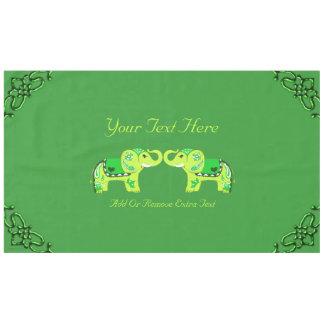 Henna Elephant (Green/Lime Green) Tablecloth