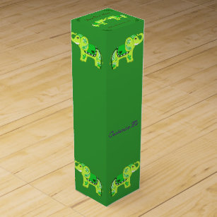 Henna Elephant (Green/Lime Green) Wine Gift Box